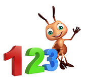 Cute Ant cartoon character with 123 sign Royalty Free Stock Photography