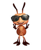 Cute  Ant cartoon character with sunglass Stock Photography