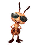 Cute  Ant cartoon character with sunglass. 3d rendered illustration of Ant cartoon character with sunglass Royalty Free Stock Photo