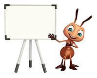Cute Ant cartoon character with white board. 3d rendered illustration of Ant cartoon character with white board Royalty Free Stock Photo