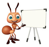 Cute Ant cartoon character with white board. 3d rendered illustration of Ant cartoon character with white board Stock Photography