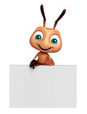 Cute Ant cartoon character with white board. 3d rendered illustration of Ant cartoon character with white board Stock Photo