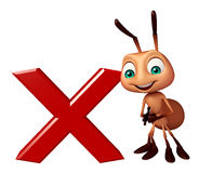 Cute Ant cartoon character with wrong sign. 3d rendered illustration of Ant cartoon character with wrong sign Stock Photography