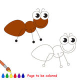 Cute ant cartoon. Page to be colored. Stock Photo