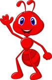 Cute ant cartoon waving. Illustration of Cute ant cartoon waving Royalty Free Stock Photo