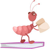 Cute ant reading a book Stock Image