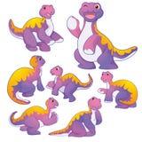 Cute Apatosaurus. Cute purple Apatosaurus cartoon character many actions Royalty Free Stock Photo