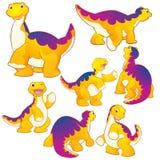 Cute Apatosaurus. Cute yellow Apatosaurus cartoon character many actions Royalty Free Stock Images
