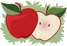 Cute Apple. A smiling and shy slice of apple pops out from behind an apple Royalty Free Stock Image