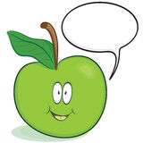 Cute apple character. Cartoon apple character with optional speech bubble.  Isolated on white Royalty Free Stock Photo