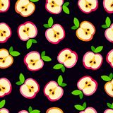 Cute apple pattern. Seamless background of slices ripe apples Royalty Free Illustration