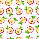 Cute apple pattern. Seamless background of slices ripe apples Royalty Free Stock Images