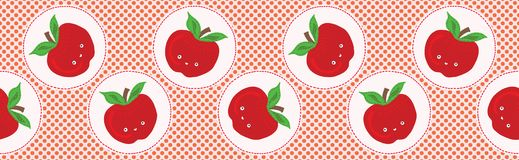 Cute apple polka dot vector illustration. Seamless repeating border pattern. royalty free illustration