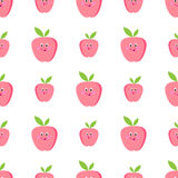 Cute apples cartoon seamless vector. Pattern eyes Royalty Free Stock Image