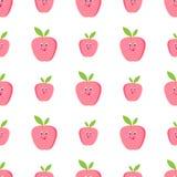Cute apples cartoon seamless vector. Pattern eyes stock illustration