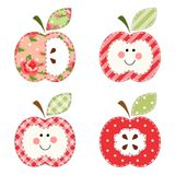 Cute apples with seeds or as a character as retro fabric applique. For your decoration Royalty Free Stock Photo