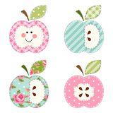Cute apples with seeds or as a character as retro fabric applique. For your decoration Royalty Free Stock Image