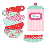 Cute applique of tea cups and stuff as retro elements for tea party. For your decoration Royalty Free Stock Photography