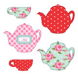 Cute applique of tea cups and stuff as retro elements for tea party Royalty Free Stock Photography