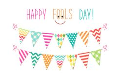 Cute April Fools Day background as festive colorful bunting flags. For your decoration Stock Photography
