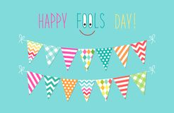 Cute April Fools Day background as festive colorful bunting flags. For your decoration Royalty Free Stock Photo