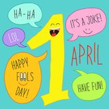Cute 1 april Fools Day cartoon charachter of smiling number one with speech bubbles. For your decoration Royalty Free Stock Photo