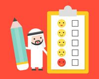 Cute Arab businessman holding giant pencil with customer feedback survey, business template for survey concept. Flat design royalty free illustration