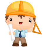 Cute Architect Boy. A cute architect boy holding paper at work Royalty Free Stock Photography