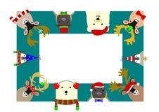 Cute arctic animals rectangle frame Stock Photos