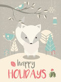 Cute Arctic Christmas baby fox with floral decoration  Royalty Free Stock Photo