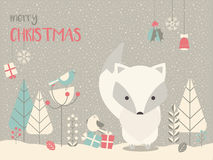 Cute Arctic Christmas baby fox surrounded with floral decoration. Cute Arctic Christmas baby fox surrounded with floral decoration, vector illustration Stock Photo