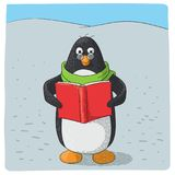 Cute arctic penguin who reads royalty free illustration