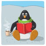 Cute arctic penguin who reads stock illustration