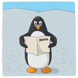 Cute arctic penguin who reads vector illustration