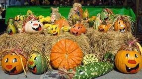 Cute arrangement of painted pumpkins stock image