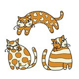 Cute art cats for your design. Vector illustration Royalty Free Stock Images