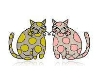 Cute art cats for your design Stock Images
