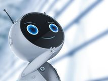 Cute artificial intelligence robot thinking. 3d rendering cute artificial intelligence robot with cartoon character thinking