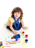 Cute artist kid drawing and painting Royalty Free Stock Photos
