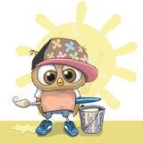 Cute Artist Owl Stock Photo
