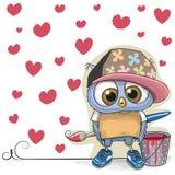 Cute Artist Owl Stock Image