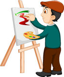 Cute artist painter was painting Stock Photography