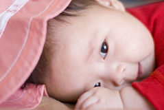 Cute asia baby. With pink hat Stock Photography