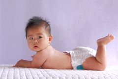 Cute asia baby looking at you Stock Photos