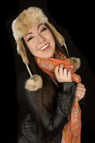Cute Asian American teen girl wearing winter clothes Stock Image
