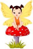 Cute Asian Baby Fairy On Mushroom vector illustration