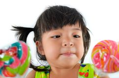 Cute asian baby girl and big lollipop. Of thailand southeast asia Stock Photos