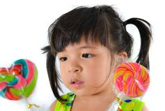 Cute asian baby girl and big lollipop. Of thailand southeast asia Stock Images