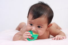 Cute Asian Baby Girl Biting Rubber Toy Stock Photography