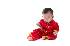 Cute Asian baby in traditional Chinese suit Isolated on white ba. Ckground, Chinese New Year Concept royalty free stock photo